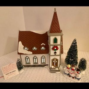 "Dept. 56 ""Shady Oak Church"" with 3 trees & acc."